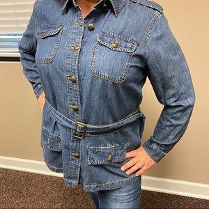 Ralph Lauren cotton and linen blend denim blouse